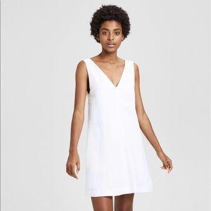 Theory White Linen V Neck Shift Dress- NWT!
